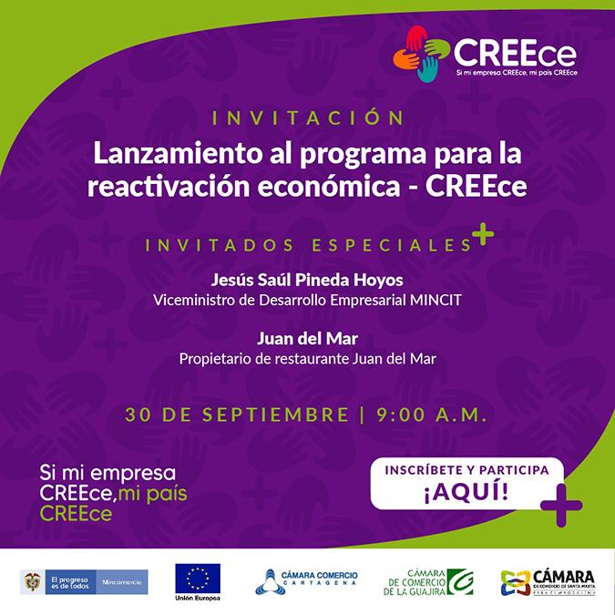 Este miércoles, Cámara de Comercio de Cartagena realizará el lanzamiento del programa CREEce