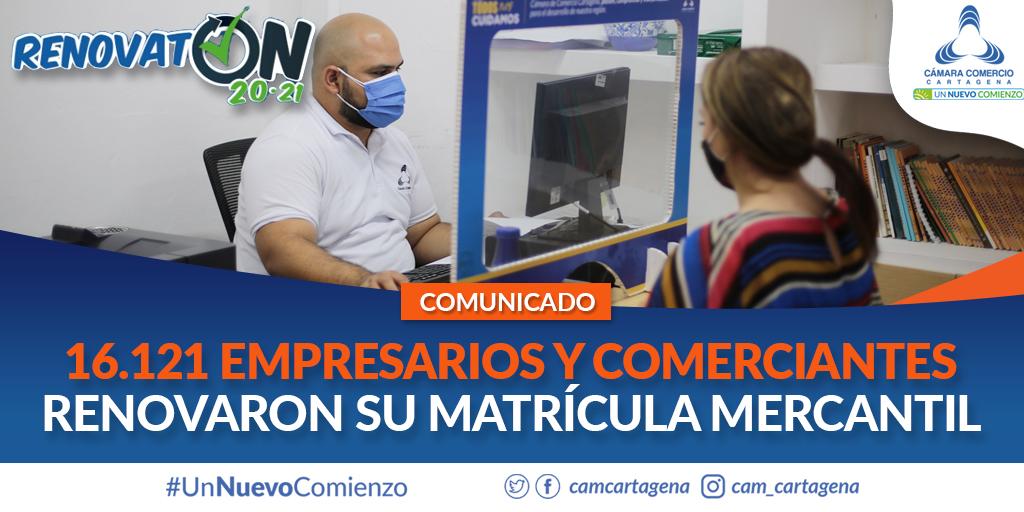 16.121 empresarios y comerciantes renovaron su matrícula mercantil: Cámara de Comercio de Cartagena